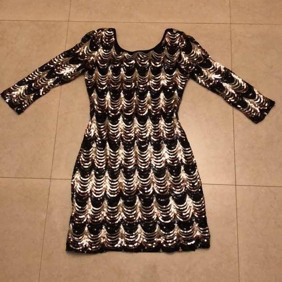155dbeee Guess by Marciano Dresses | Black Good Rose Gold Sequin Dress | Poshmark